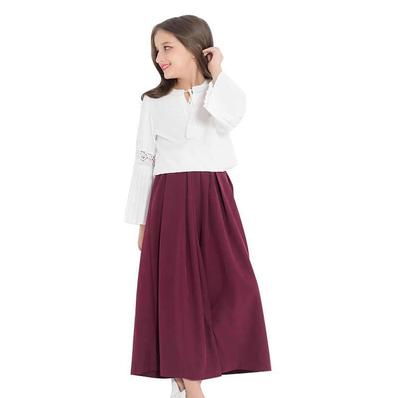 Long Sleeve Top N Wide Leg Pant Sets white and wine red / 14 in Strawbie Collections - girls dress set
