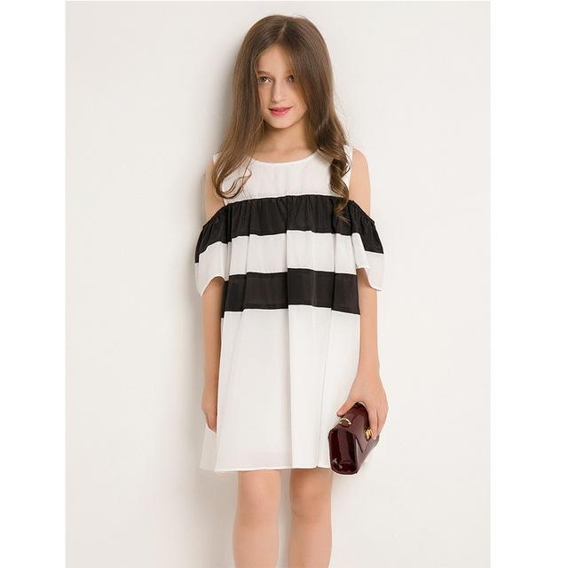 Off Shoulder Dress For Teens black white / 14 in Strawbie Collections - girls dress