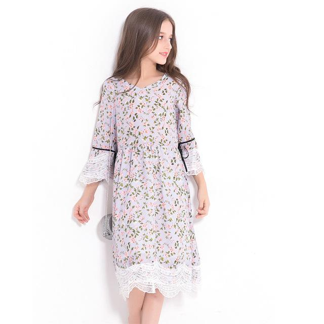 Floral Print Loose Fit Dress For Girls purple / 14 in Strawbie Collections - girls dress