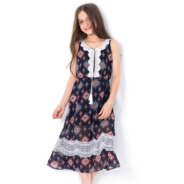 Sleeveless Long Bohemian Style Dress navy black / 7 in Strawbie Collections - girls dress