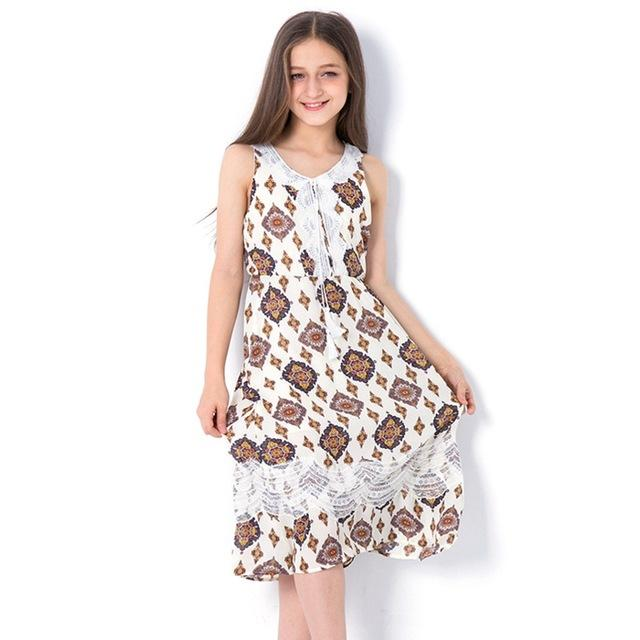 Sleeveless Long Bohemian Style Dress apricot / 14 in Strawbie Collections - girls dress