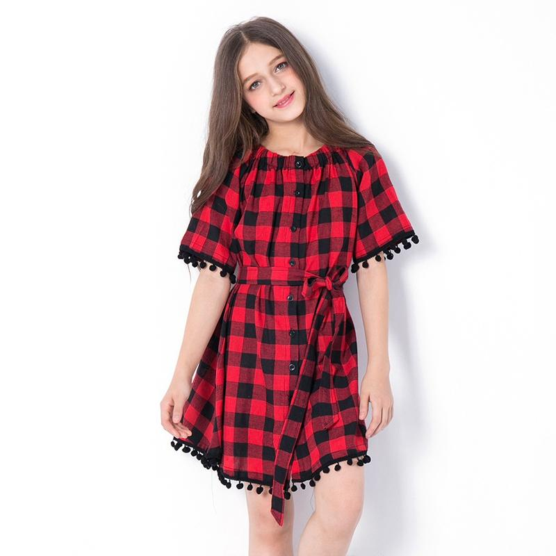 Black And Red Plaid Off Shoulder Dress - girls dress - with belt / 6 - Strawbie Collections