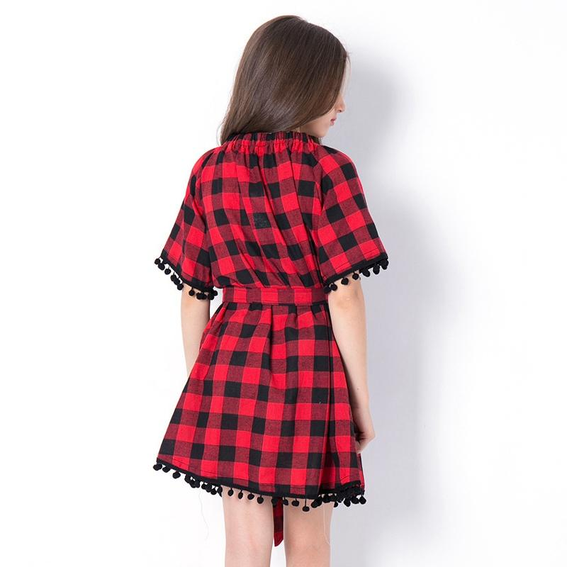 Black And Red Plaid Off Shoulder Dress - girls dress - - Strawbie Collections