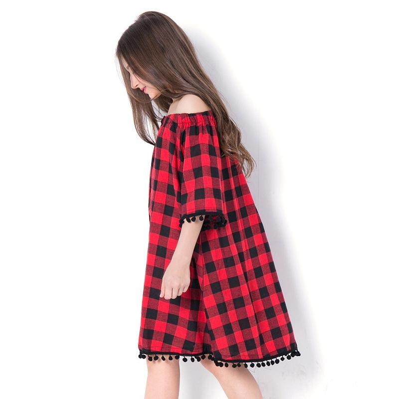 Black And Red Plaid Off Shoulder Dress  in Strawbie Collections - girls dress