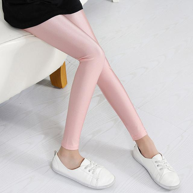 Shiny Luster Party Leggings For Girls Pink / 14 in Strawbie Collections - leggings