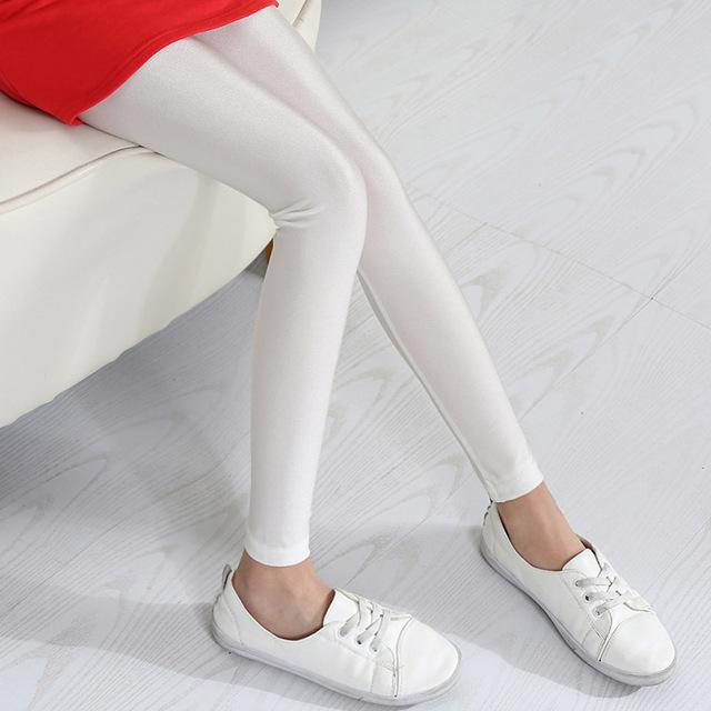 Shiny Luster Party Leggings For Girls White / 14 in Strawbie Collections - leggings