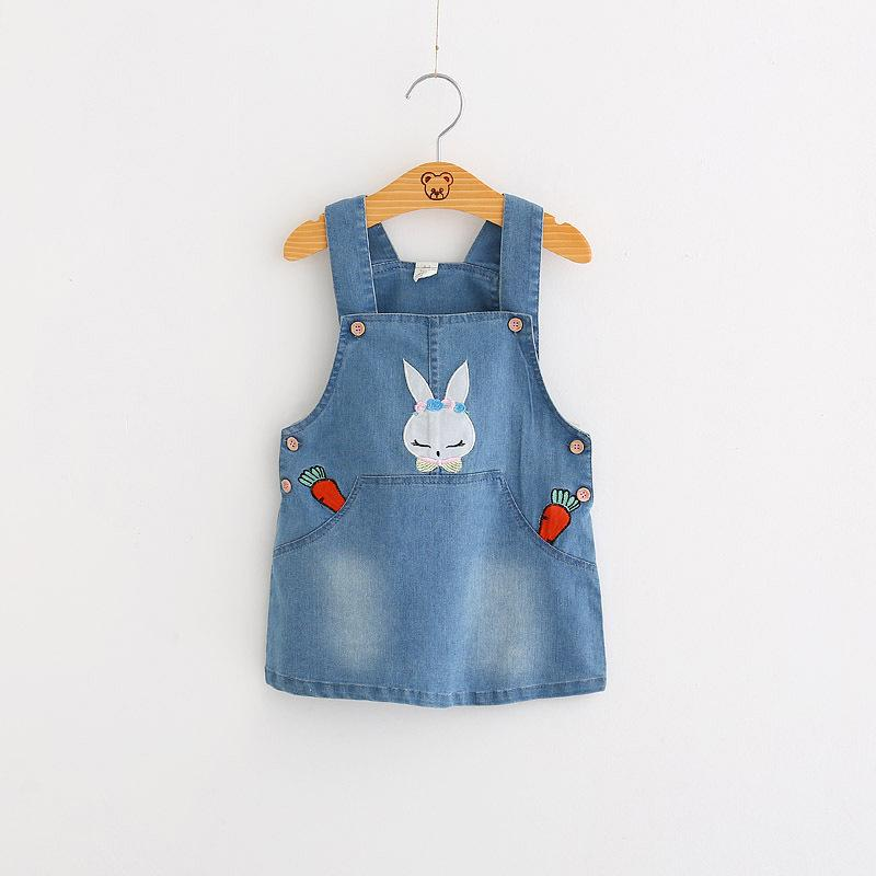 Cute Rabbit Embroidered Denim Overalls Blue / 9 in Strawbie Collections - girl overall skirts