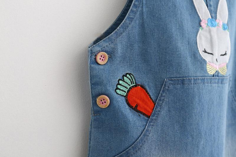 Cute Rabbit Embroidered Denim Overalls  in Strawbie Collections - girl overall skirts