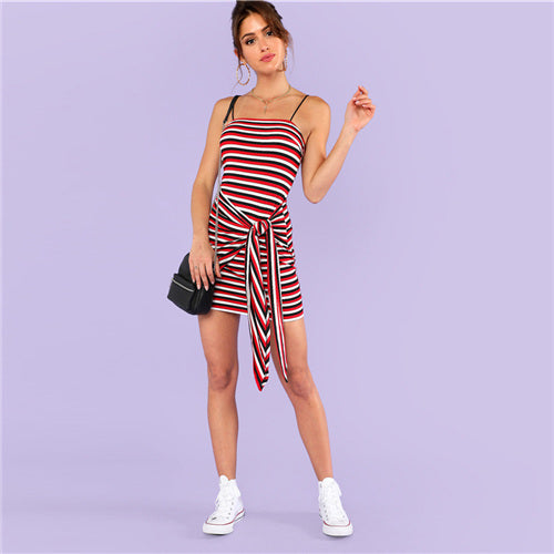 Casual Striped Cami Dress With Spaghetti Strap - girls dress - Multi / XS - Strawbie Collections