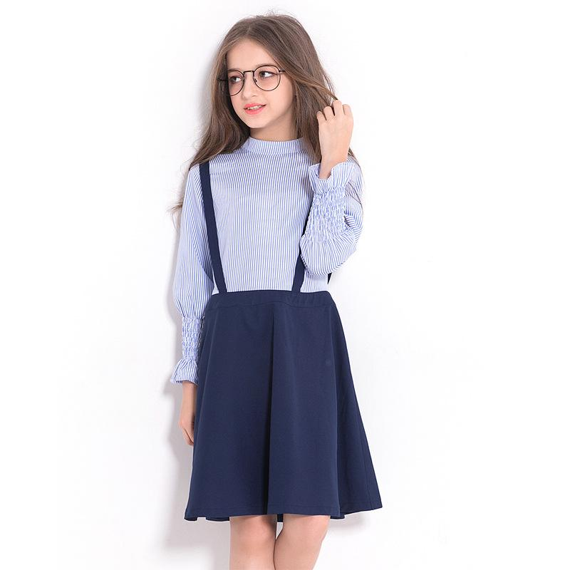 Long Sleeve Dress For Kids Blue / 14 in Strawbie Collections - girls dress