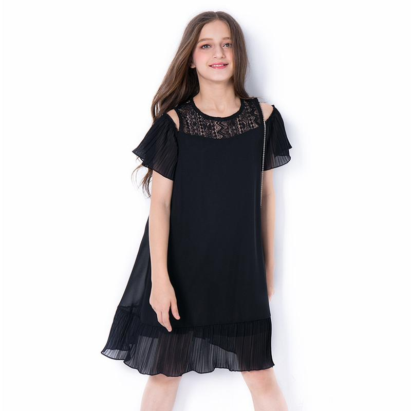 Girls Black Chiffon Dress Black / 14 in Strawbie Collections - girls dress