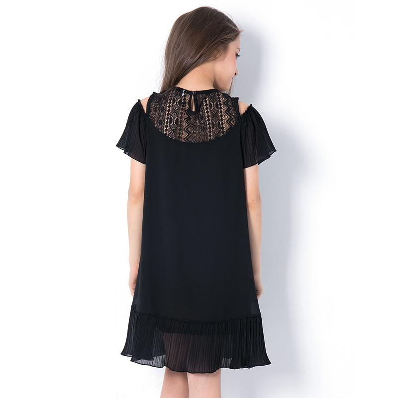 Girls Black Chiffon Dress  in Strawbie Collections - girls dress
