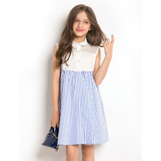 Sleeveless Striped Dress Blue / 14 in Strawbie Collections - girls dress
