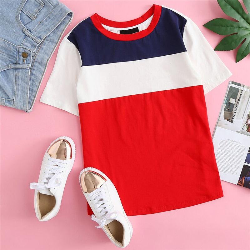 Colour Block Casual Short Sleeve Tee Top  in Strawbie Collections - Girls Tops