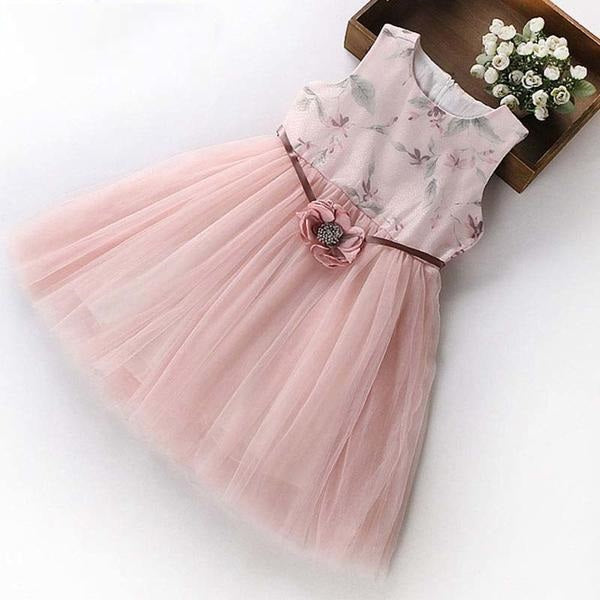 Princess Party Mesh Dress With Flower Belt pink / 12 in Strawbie Collections - girls dress