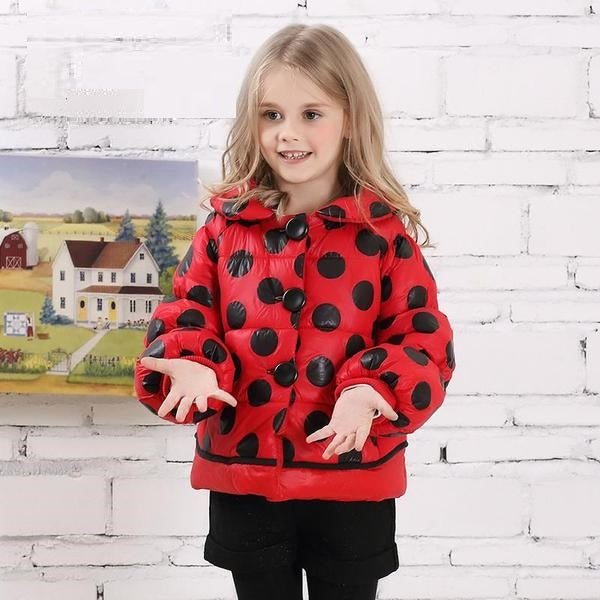 Lantern Sleeve Polka Dot Thick Winter Jacket - jackets - - Strawbie Collections
