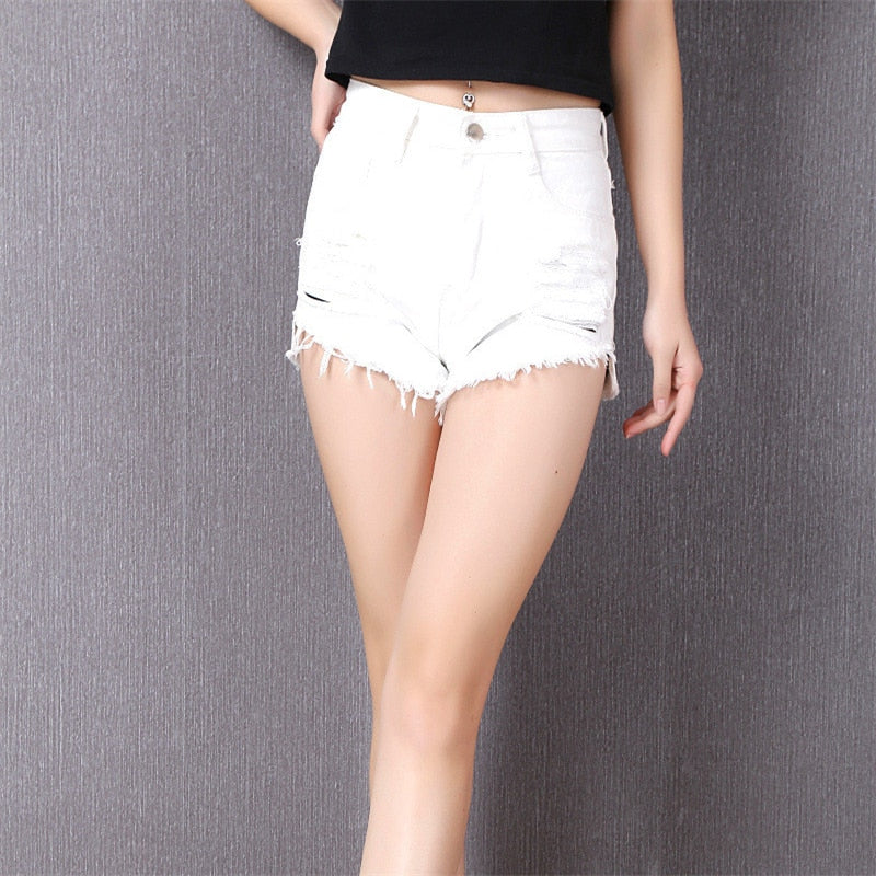 Denim Slim Fit High Waist Shorts white / XL in Strawbie Collections - Girls Bottoms