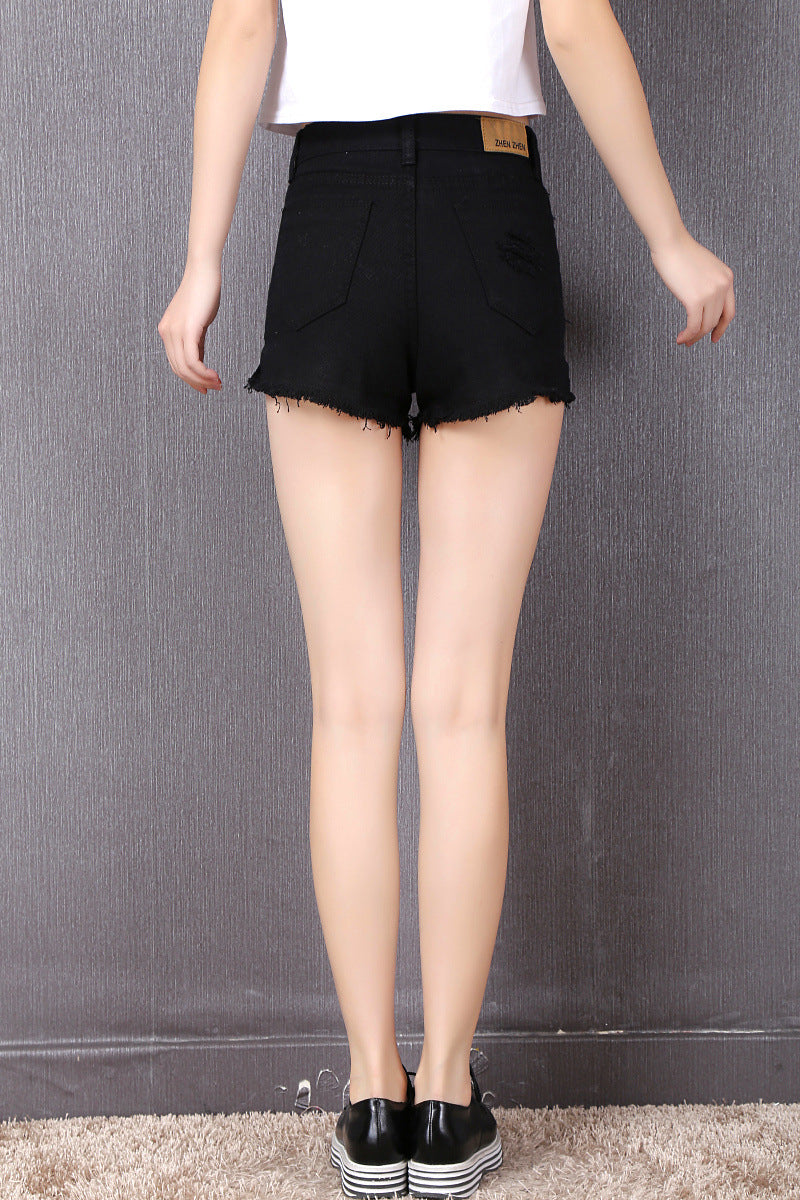 Denim Slim Fit High Waist Shorts  in Strawbie Collections - Girls Bottoms