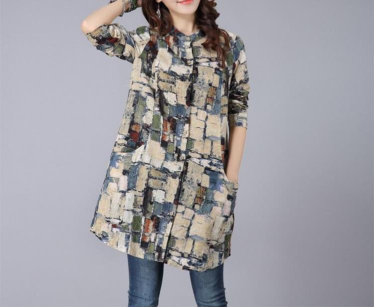 Long Printed Cotton Tops With Pockets  in Strawbie Collections - Girls Tops