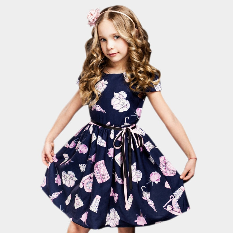 Flower Print Party Princess Dress  in Strawbie Collections - girls dress
