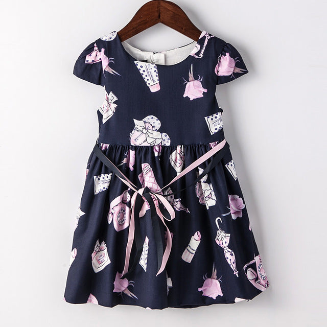 Flower Print Party Princess Dress Blue / 8 in Strawbie Collections - girls dress