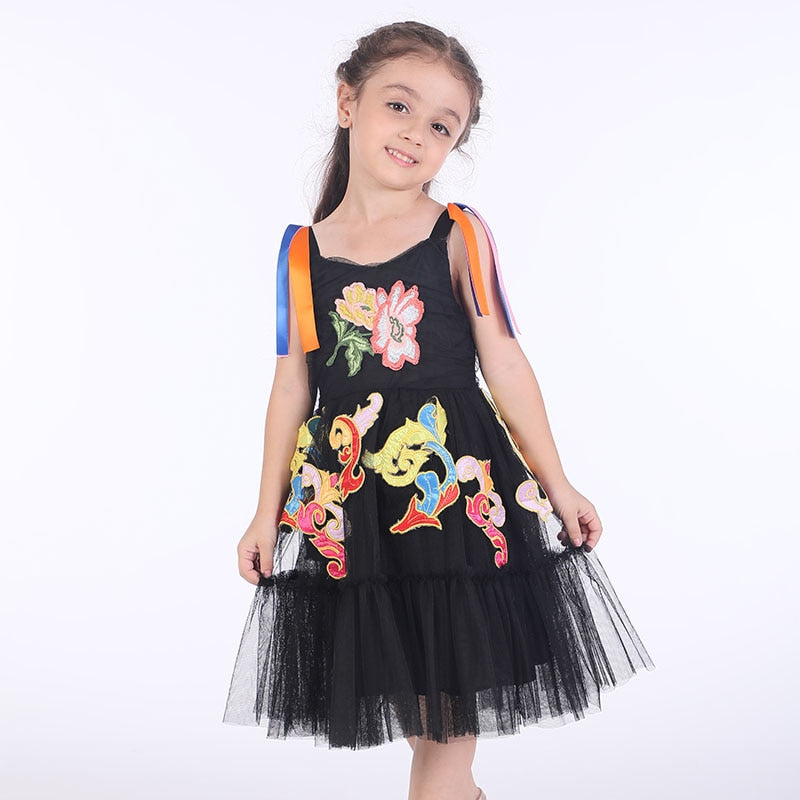 Princess Lace Dress with Flower Embroidery 9 in Strawbie Collections - girls dress