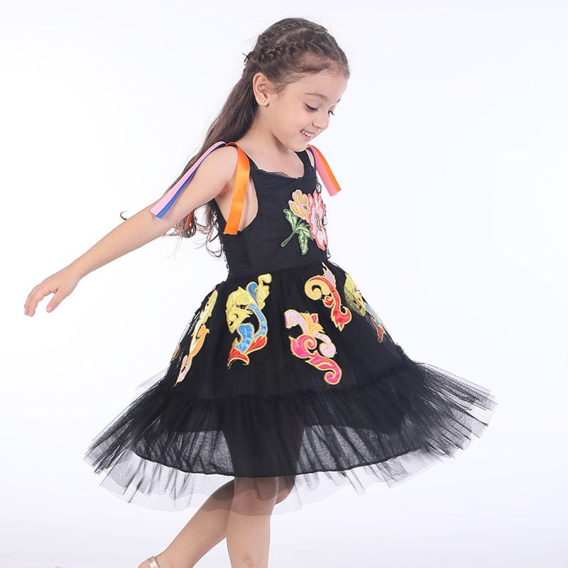 Princess Lace Dress with Flower Embroidery