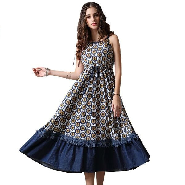 Long Floral Print Layered Swing Hem Dress  in Strawbie Collections - girls dress
