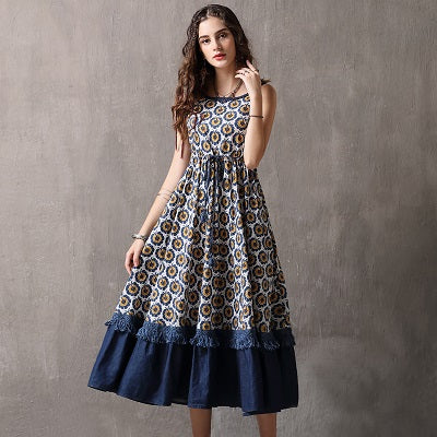 Long Floral Print Layered Swing Hem Dress Floral / L in Strawbie Collections - girls dress