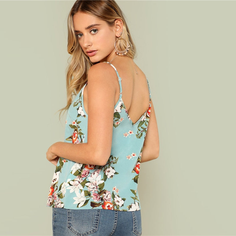 Floral Print Sky Blue Summer Cami Top  in Strawbie Collections - girls dress