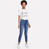 Mid Waist Crop Jeans With Side Stripes  in Strawbie Collections - Girls Pants