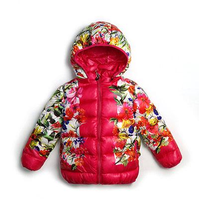 Floral Print Winter Parkas For Girls - jackets - Rose Red / 6 - Strawbie Collections