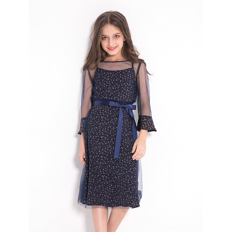 Elegant Teenage Girls Party Dress navy blue / 14 in Strawbie Collections - girls dress