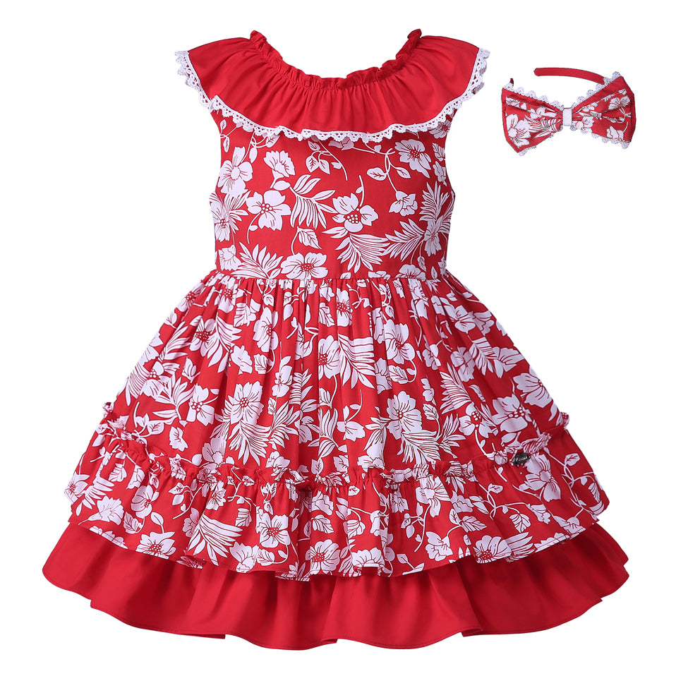 Red Flower Print Sleeveless Dress With Headband - girls dress - - Strawbie Collections
