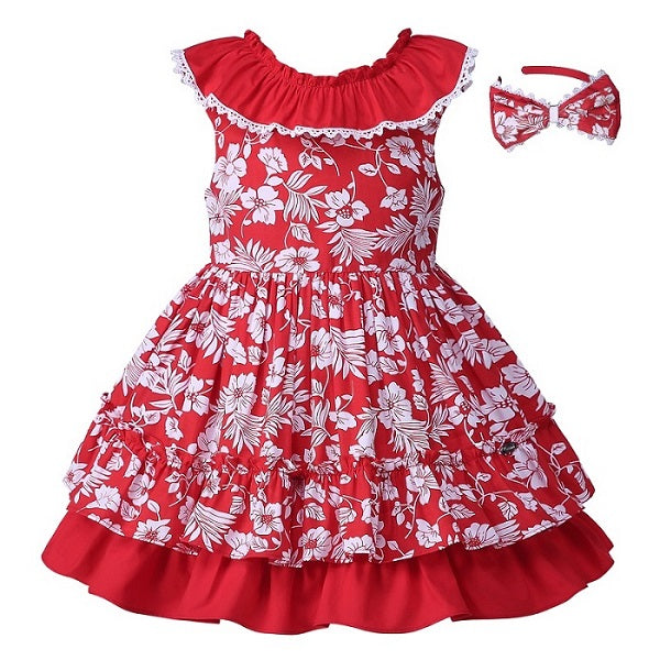 Red Flower Print Sleeveless Dress With Headband red / 8 in Strawbie Collections - girls dress