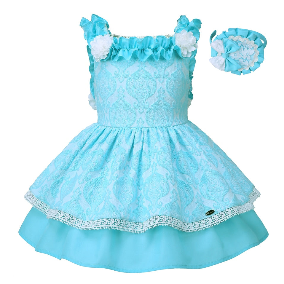 Boutique Style Beautiful Blue Layered Dress - girls dress - blue / 10 - Strawbie Collections