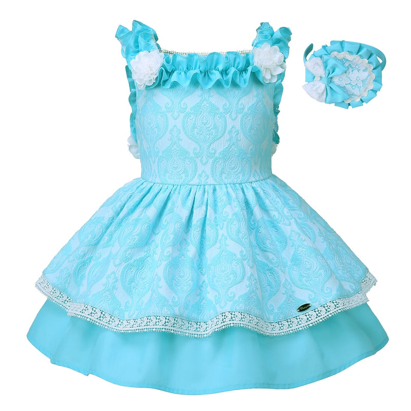 Boutique Style Beautiful Blue Layered Dress blue / 8 in Strawbie Collections - girls dress
