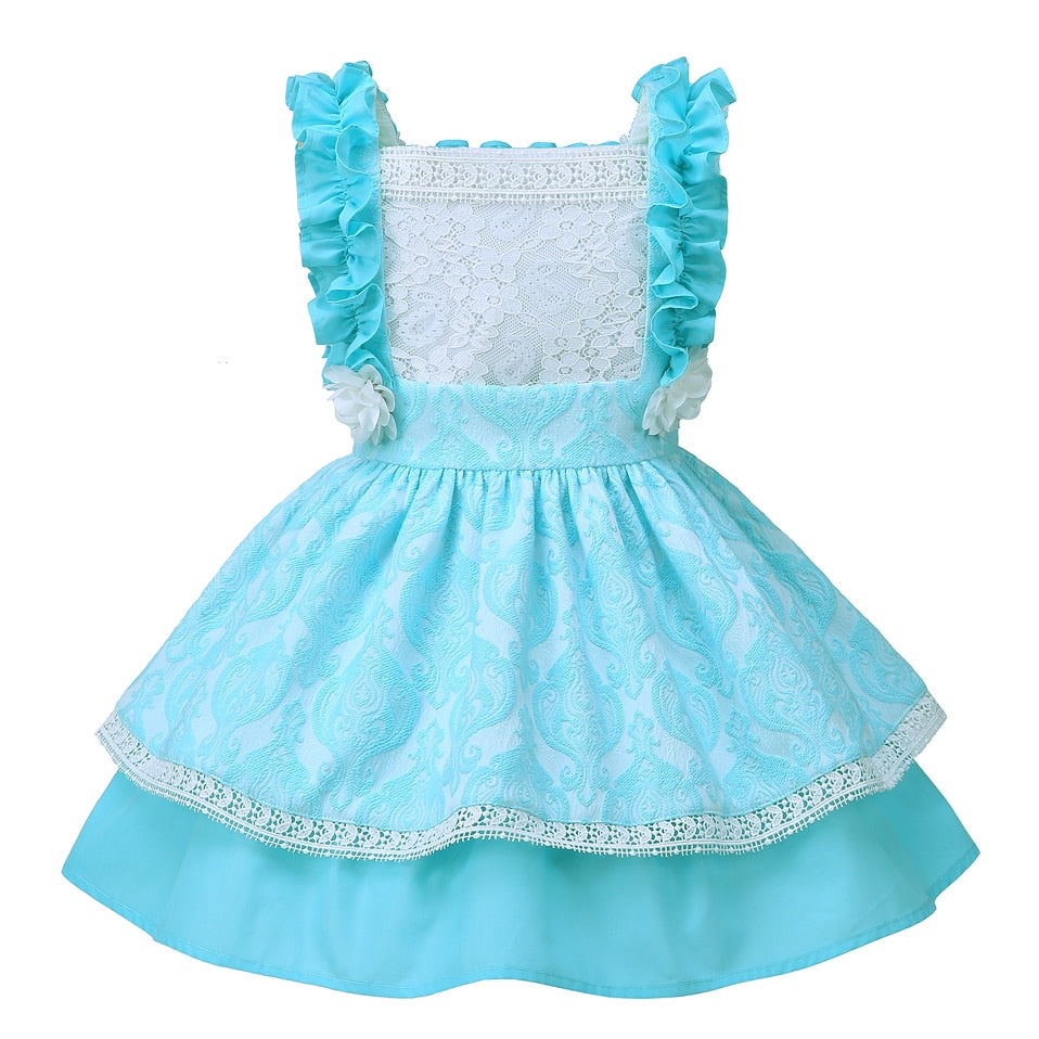 Boutique Style Beautiful Blue Layered Dress - girls dress - - Strawbie Collections