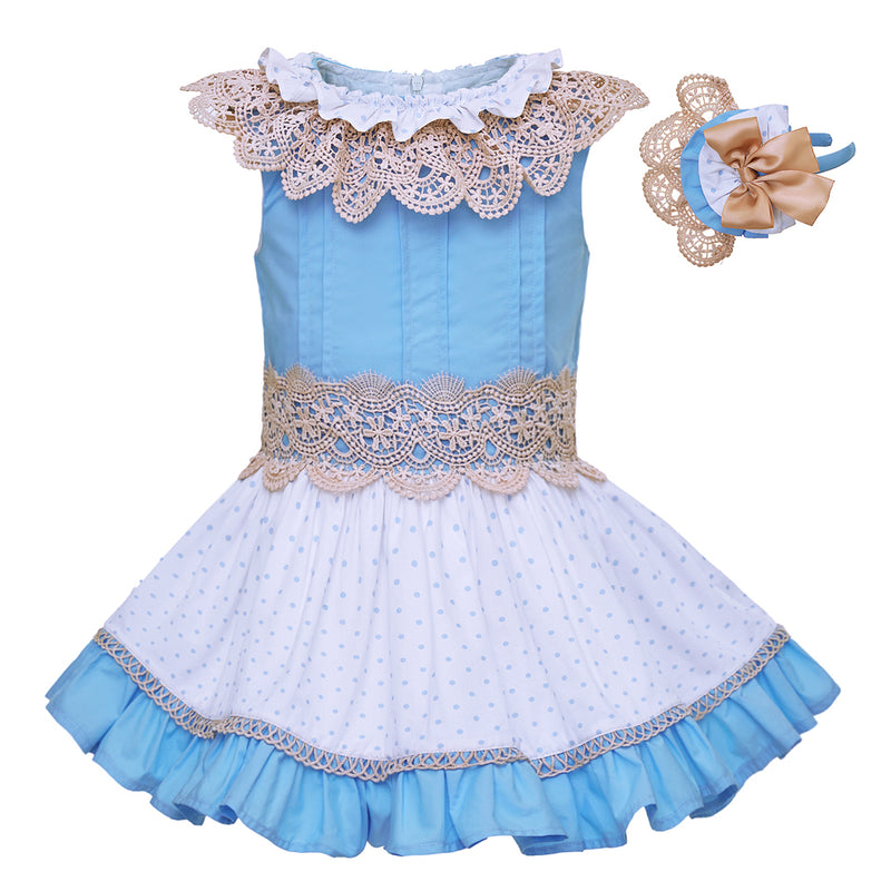 Blue And White Princess Dress With Lace Collar And A Headband Blue / 8 in Strawbie Collections - girls dress