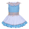 Blue And White Princess Dress With Lace Collar And A Headband  in Strawbie Collections - girls dress