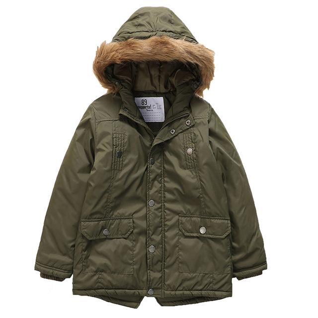 Fur Hooded Long Jackets For Girls green / 9 in Strawbie Collections - jackets
