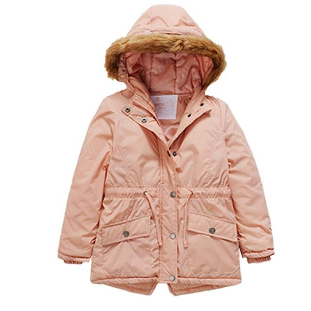 Fur Hooded Long Jackets For Girls pink / 9 in Strawbie Collections - jackets