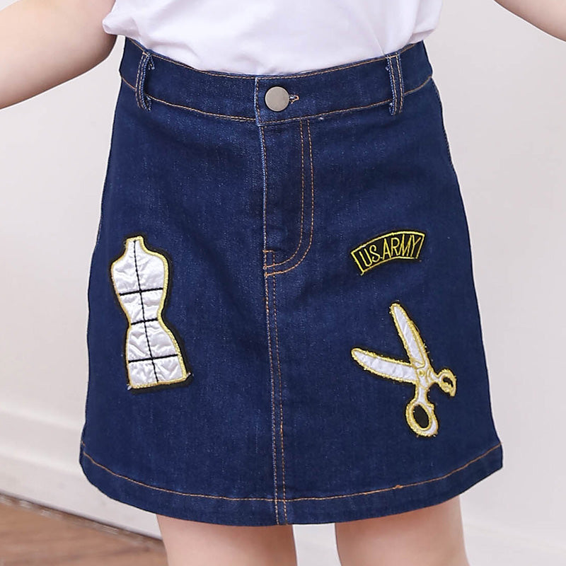 T Shirts And Denim Skirt Set  in Strawbie Collections - girls skirt and top sets