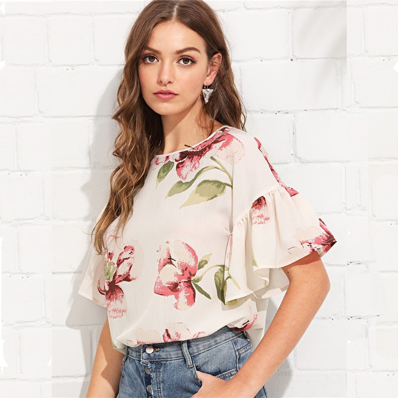 Floral Ruffle Sleeve Casual Top  in Strawbie Collections - Girls Tops