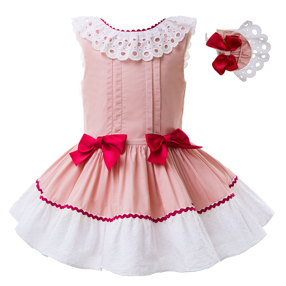 Pink Sleeveless Dress With A Broad Lace Work And A Headband - girls dress - as picture / 2 - Strawbie Collections
