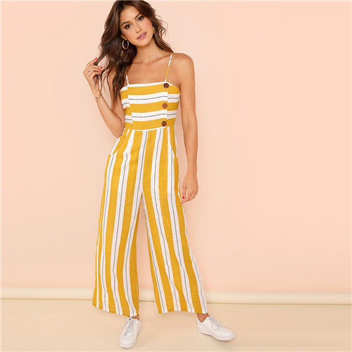 Striped Casual Jumpsuit for Summer Orange / L in Strawbie Collections - girls jumpsuit