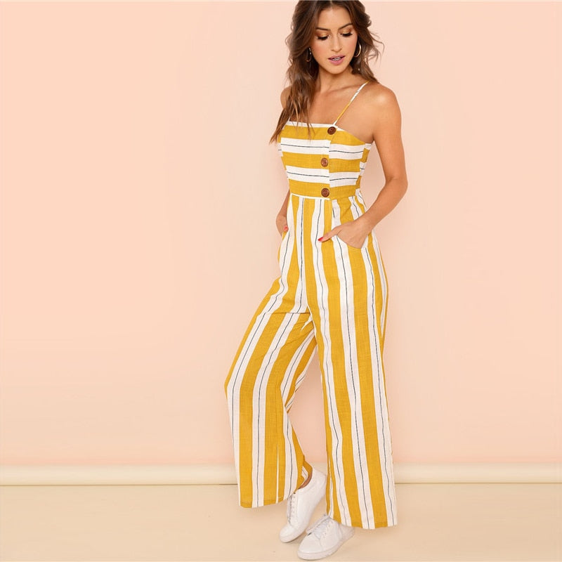 Striped Casual Jumpsuit for Summer  in Strawbie Collections - girls jumpsuit