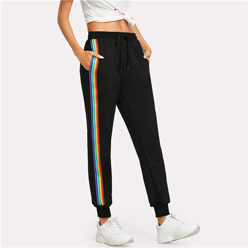 Sporting Sweatpants With Stripes For Young Ladies Black / L in Strawbie Collections - Girls Bottoms