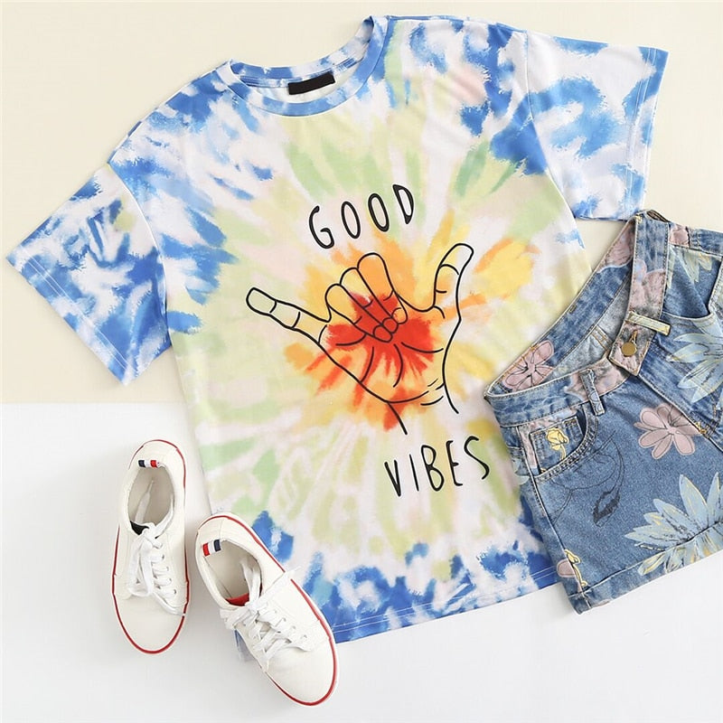 Casual Oversized  Bright coloured Tie and Die T-shirt  in Strawbie Collections - girls T-Shirt