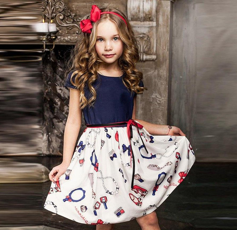 Summer Cotton Party Dress For Kids Multi / 8 in Strawbie Collections - girls dress